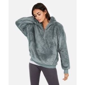 Express One Eleven | Green Blue Sherpa Sweater